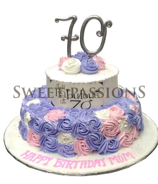 2 Tier Pink Blue Rosettes Cake