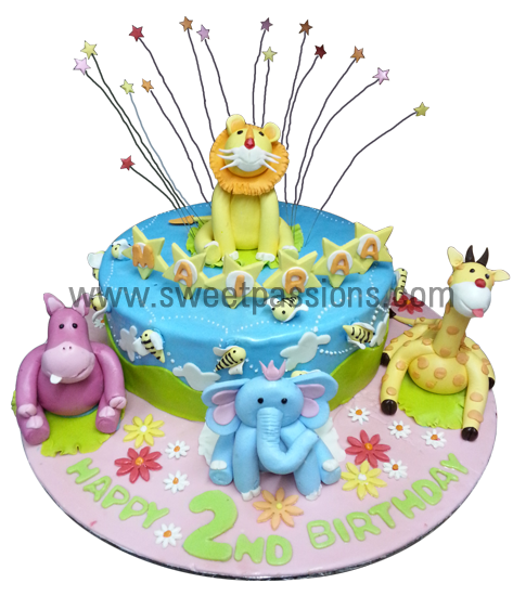 Single Layer Cute Jungle Cake