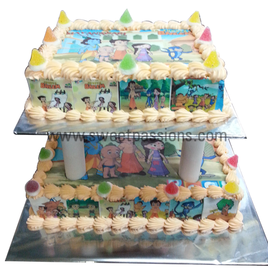 2 Tier Chota Bheem Photo Cake