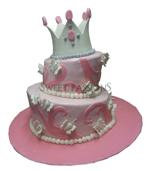 2 Tier Topsy Turvy Crown Cake