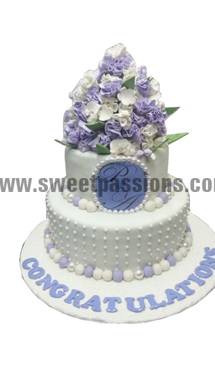 White Purple Bunch Logo Cake