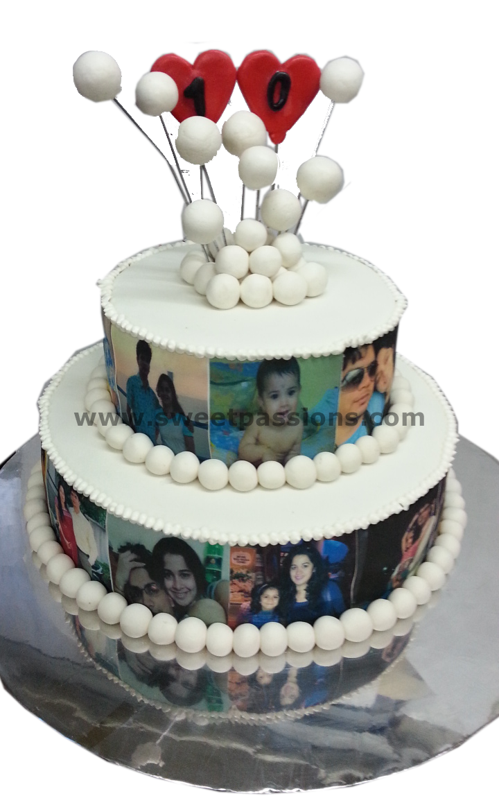 2 Tier Family Photo Cake