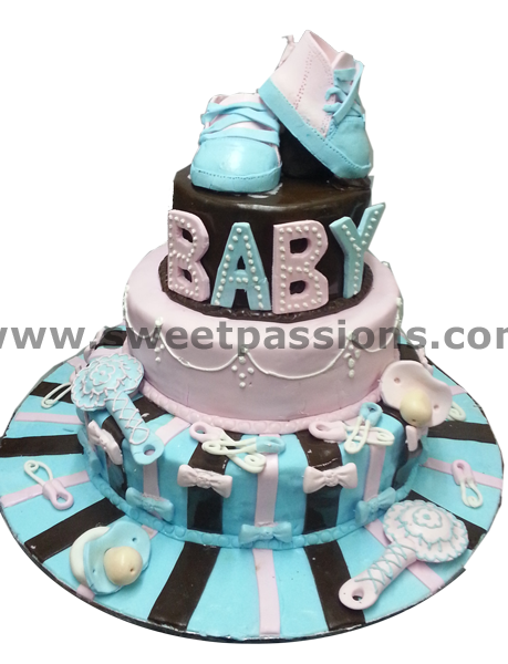 3 Tier Baby Shoes & Rattles Cake