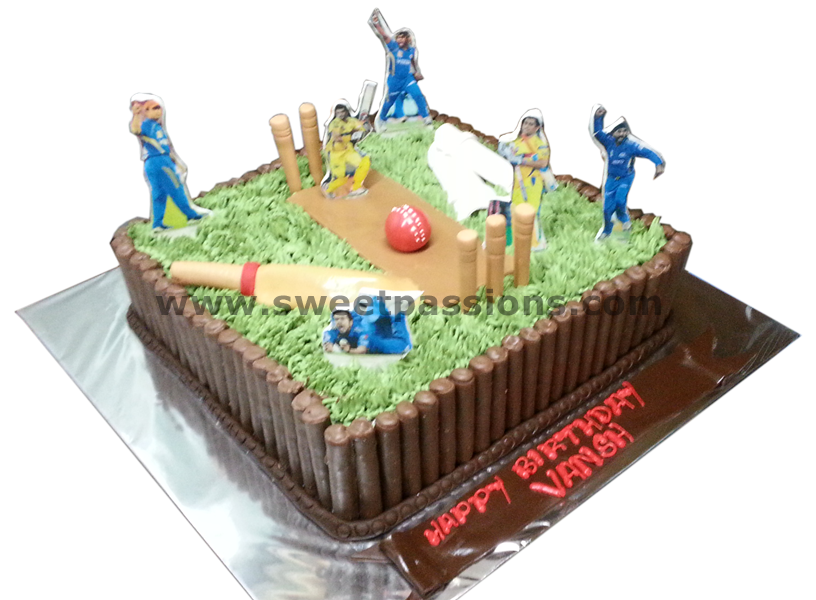 Cricket Field With Cigars And Players Cut-outs
