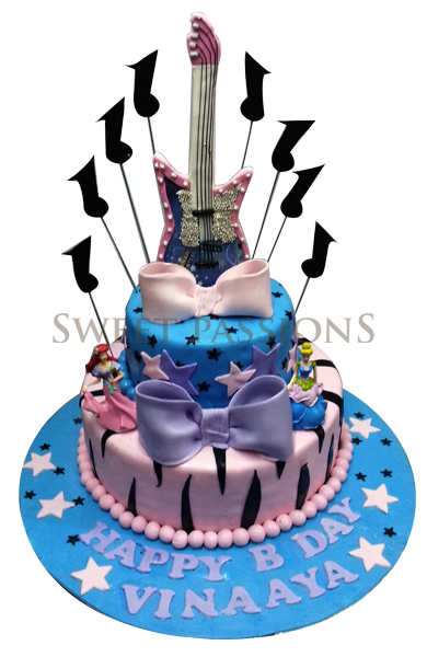2 Tier Guitar Cake With Music Notes & Dolls