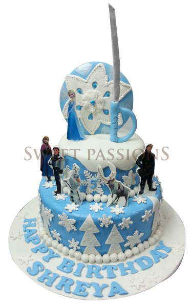 2 Tier Frozen Theme Cake With Cut-outs