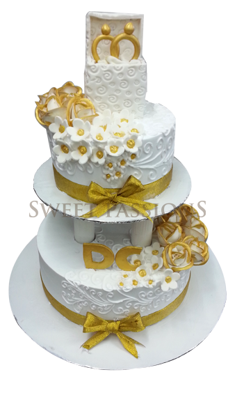 2 Tier White Gold Cake With Ring Box