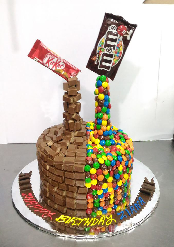 Falling Kit-kat And M&ms Cake
