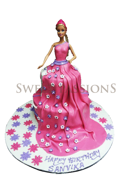 2 Tier Barbie With Pink Flowing Dress