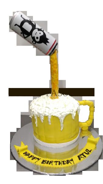Movies Popcorn Clapboard Cake Bira Can Flowing On Mug