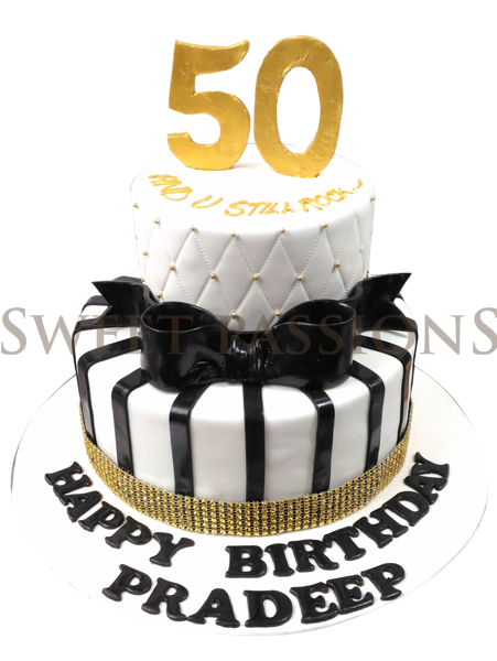 Black Stripes Nos 50 Cake