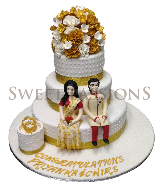3 Tier Indian Couple Anniversary Gold Cake