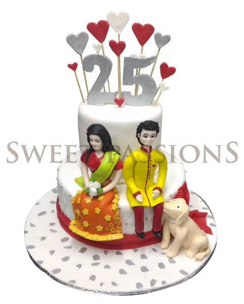 2 Tier Indian Couple Posing Cake
