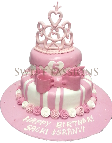 2 Tier Striped Pink Bow Tiara