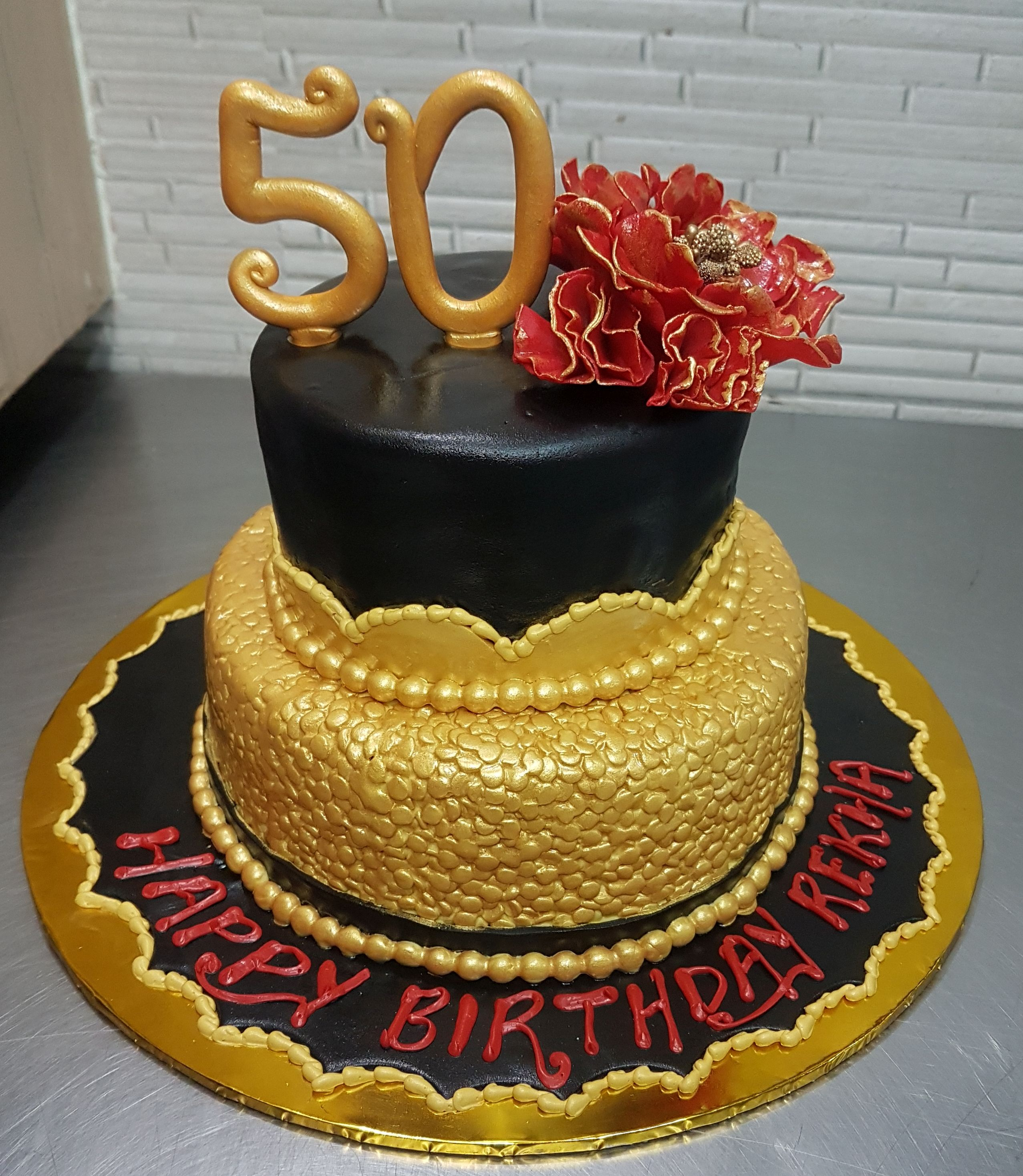 2 Tier Gold Sequin Cake