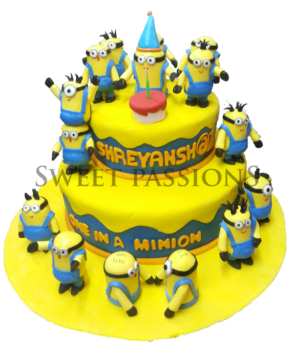 2 Tier Minion Party Time Cake