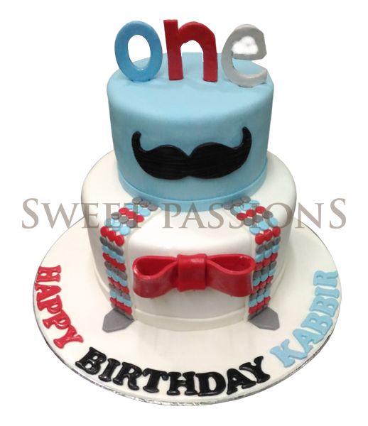 2 Tier Number 1 Moustache Cake