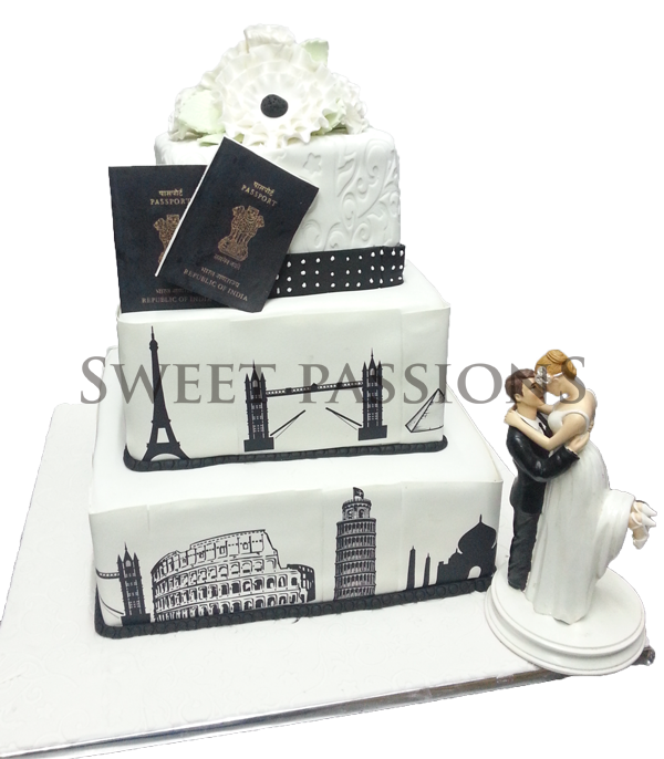 3 Tier Wonders Of World Passport Cake