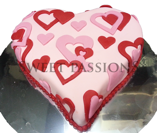 Single Red Pink Hearts Sugarpaste