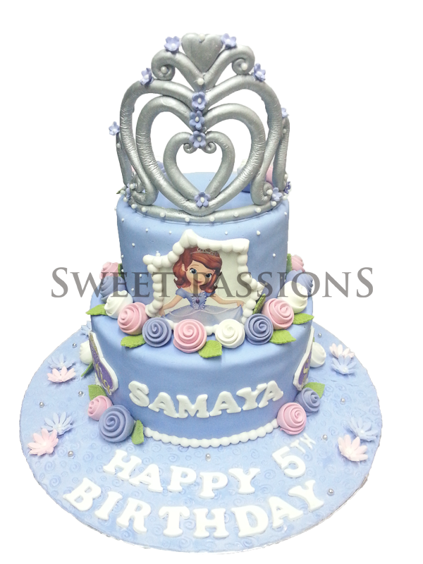 2 Tier Sophia Princess Crown Cake