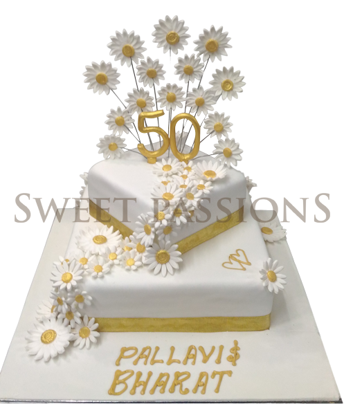 2 Tier White Sunflowers Cake