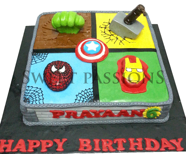 Superheroes Block Cake