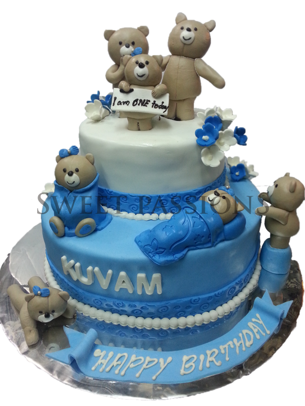 2 Tier Cute Teddies Cake