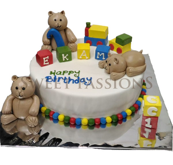 Teddy And Blocks Cake